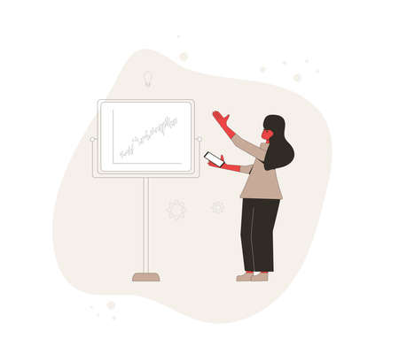 Investment technical analytics. Financial report concept. Business presentation preparation. Young woman loking on board with chart of stock market investment trading. Vector flat illustration.