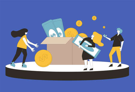 Donation concept. Young people raising money together. Characters with huge coins and box. Social investment with volunteers. Line art flat vector illustration. Illusztráció