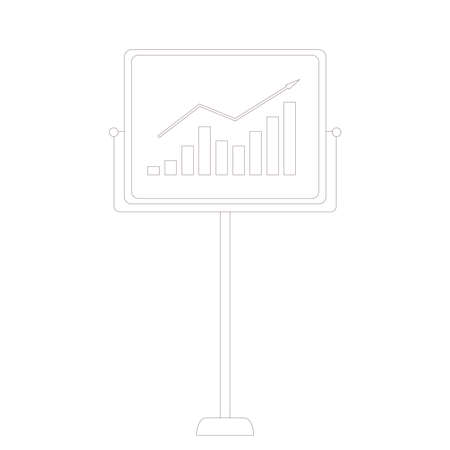 Investment income graph concept. Board with stock market diagram isolated on white background. Line art flat vector illustration. Illusztráció