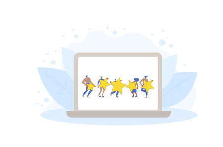 Customer review rating. Feedback concept. Happy clients standing and dancing with gold stars on laptop screen. Service rating. Vector flat illustration.