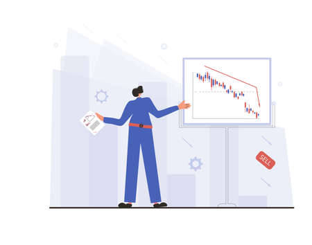 Analyst Report. Invest in the company's bonds. Minor shareholder get a report about stock market crash. Man presentation about collapsing stock prices. Vector flat color illustration.