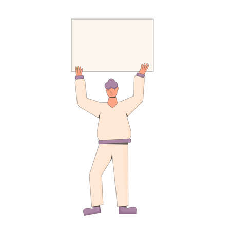Character holding placard over head isolated on white background. Person in casual clothes standing with banner taking part in parade, picket. Social activism. Vector line illustration.