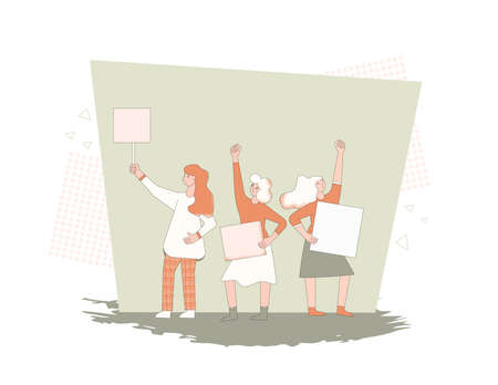 Feminism. Protest. Female activists holding placards. Girls standing together with blanks for their rights. Women with banners taking part in parade, picket, manifestation. Vector line illustration. Illusztráció
