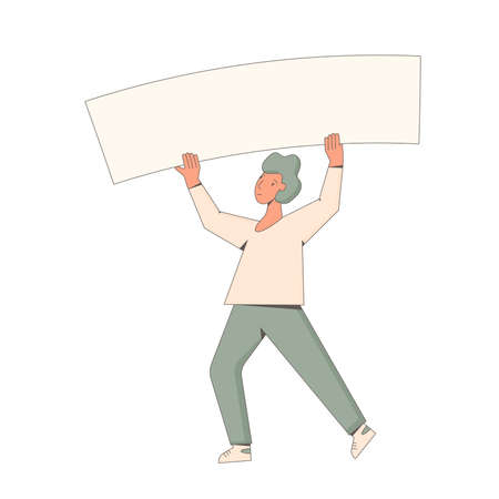 Male character holding placards isolated on white background. Student standing with blanks. Young man in casual clothes with banner taking part in parade, picket. Social activism. Vector line illustration.