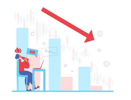 Invest in the bonds company's bonds fail. Inexperienced minor shareholder. Stock market crash. Frustrated man looking at computer screen on graph. Collapsing stock prices. Vector flat illustration.  イラスト・ベクター素材