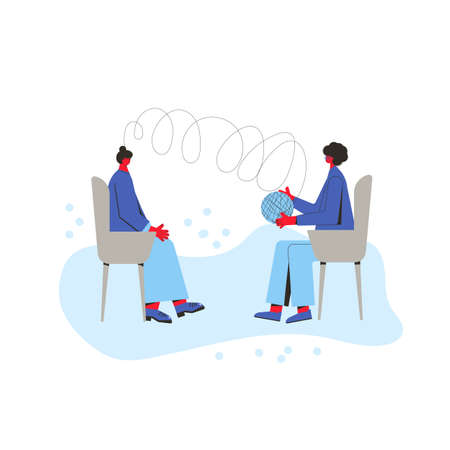 Psychotherapy. Counseling. Female patient with psychologist sitting and talking about depression, family problems, Professional support. Couch session. Mental health. Vector flat illustration. Vektorové ilustrace
