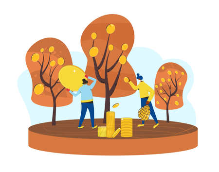 Getting rich scene. Investment. Minor shareholders making money. Stock market boom. Growth in equity prices. Tiny people harvesting crops of huge coins. Vector illustration.