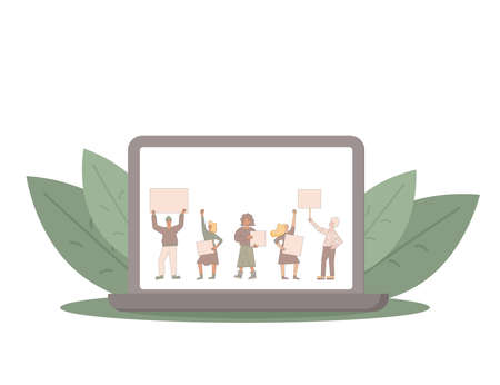 Protest streaming on laptop screen. News about people holding placards. Persons standing together with blanks. Women and men with banners taking part in parade, picket. Vector illustration.