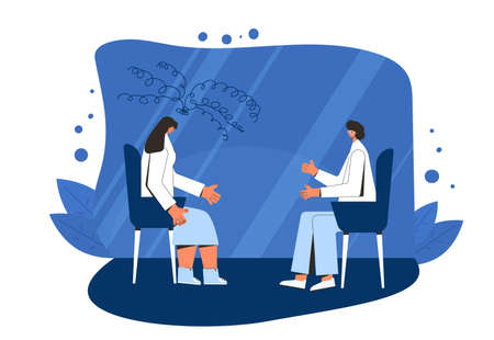 Psychotherapy. Counseling. Female patient with therapist sitting and talking about depression, family problems, Professional psychological support. Couch session. Vector flat illustration. Vektorové ilustrace