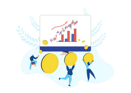 Investment concept. Minor shareholders getting money. Stock market boom. Growth in equity prices. tiny people with huge coins, graph on computer's screen. Vector flat illustration.