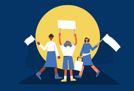 Feminism protest. People holding placards. Female persons standing together with blank banners. Group of women with banners taking part in parade, picket. Social activism. Vector illustration.