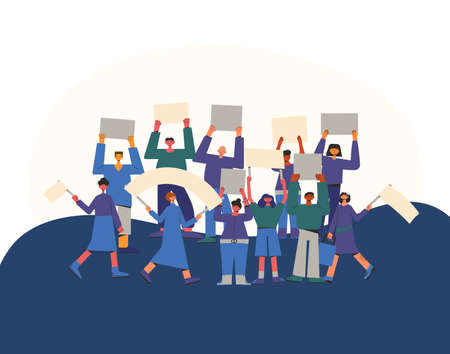 Protest. Crowd of people holding placards. Persons standing together with blank banners. Group of men and women with banners taking part in parade, picket. Social activism. Vector. Illustration