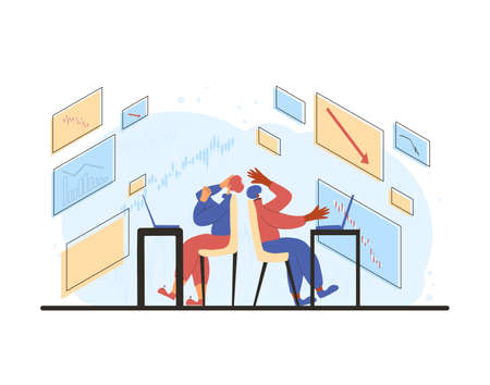 Invest in the bonds company's bonds fail. Inexperienced minor shareholder. Stock market crash. Two frustrated persons surrounded investment graph. Collapsing stock prices. Vector flat illustration.