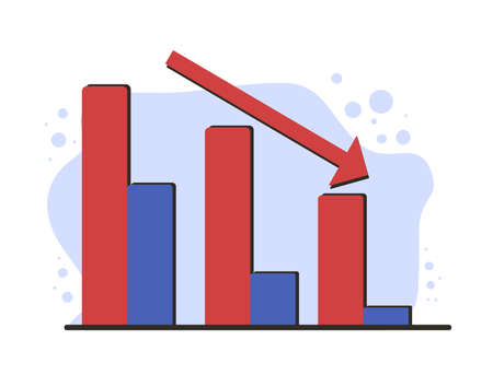 Invest in the company's bonds. Stock market crash. Collapsing stock prices. Vector flat color illustration.