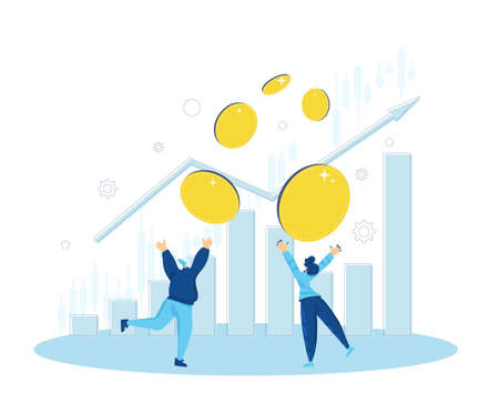 Investment concept. Invest in the company's bonds. Minor shareholders getting money. Stock market boom. Growth in equity prices. Tiny people with huge coins, graph. Vector flat color illustration.