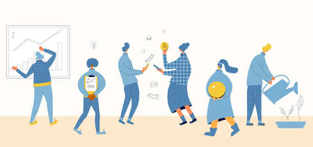 Financial plan set. Minor shareholders getting money. People watering money trees and harvesting crops of huge coins metaphor. Cryptocurency exchange or payment. Advisors report. Vector illustration.