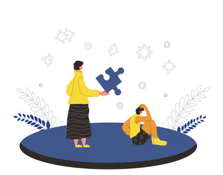 Autizm theraphy. Psychotherapy counseling for patient child. Character with puzzles piece symbol try to help person with some mental issues. Vector flat cartoon illustration.