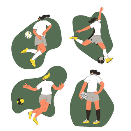 Young female soccer players set wearing in uniform. Women football athlettes dressed in sportwear and boots with sport ball. Vector flat character.