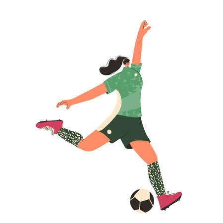 Young female soccer player wearing in uniform. Woman football athlette dressed in sportwear and boots with sport ball isolated on white background. Vector flat character.