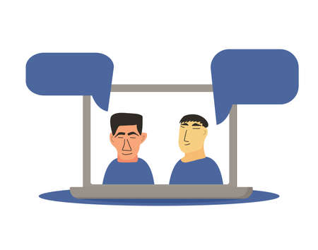 Video conference. Family distance communication. Two coworkers taking part in video conference. Online call or meeting for a job. Stream friends. Chatting from home. Vector flat illustration. Çizim