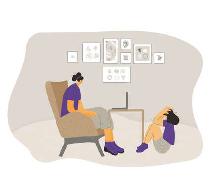 Counseling kid theraphy. Professional psychotherapist and girl have a conversation. Woman try to help to her patient. Teenager at child psychologist's office. Vector flat cartoon illustration.