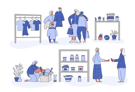 Flea market scenes set. Woman with son choosing clothes, person looking at goods in the box, girl buying a local products. Collection of selling vintage goods. Second hand shop. Vector illustration. Çizim