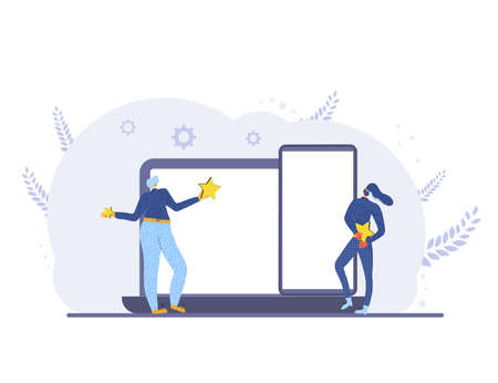Consumer experience. Feedback concept. Online product review. Two women holding stars in their hands with laptop and phone. Service rating. Reputation app level. Vector flat illustration.