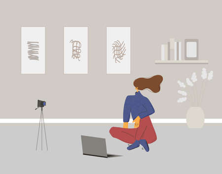 Young woman sitting on the floor with camera and laptop. Female blogger dressed in casual clothes recording new content at home. Vector flat color illustration.