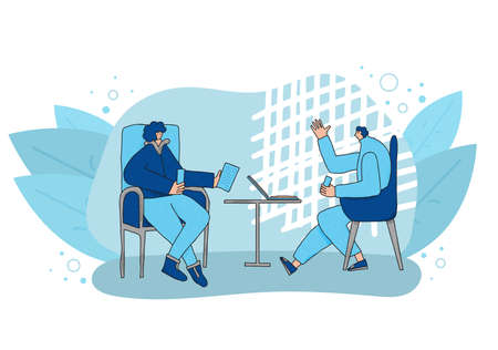Interview concept. Young persons sitting in the chair and talking about vacancy. Attractive people having a conversation. Vector flat illustration.