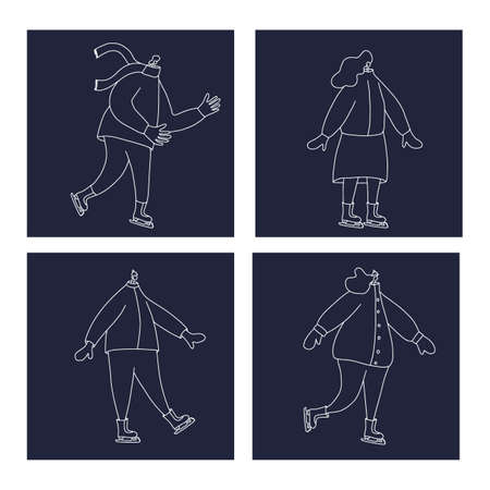 Ice skaters. Four persons isolated on dark cards. Vector illustration. Standard-Bild - 157158219