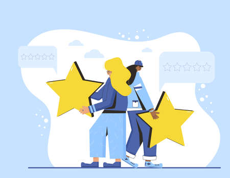 Feedback concept. Client review. Pretty young women in casual clothes holding gold stars in their hands. Service rating. Satisfaction level. Consumer product ranking. Vector flat illustration.