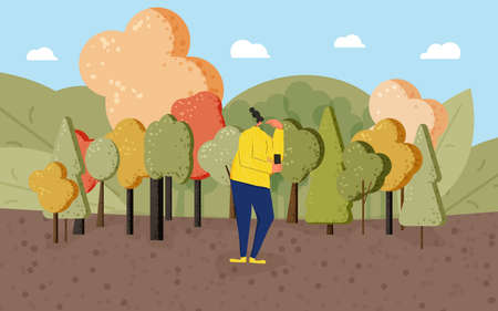 Pensive teenager girl standin at the park. Young woman dressed in casual clothes in doubt. Person frustrated by current situation and thinking so hard. Feamle character thinking about problems surrounded by trees. Vector flat illustration.