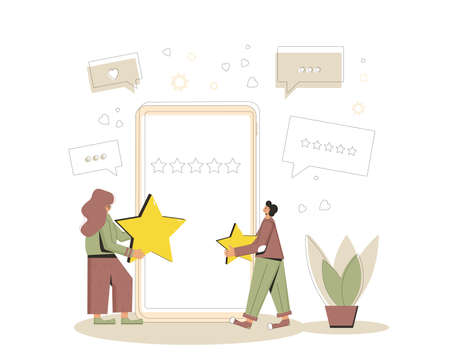 Feedback concept. Two young clients. People holding stars in their hands near huge phone. Service rating. Satisfaction level. Consumer product review Vector flat illustration. Çizim