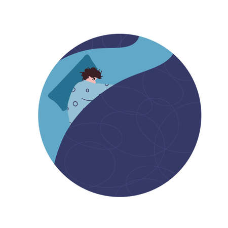 Bad dream concept. Young man dressed in pijamas laying and curling upin the bed and can't sleep. Problem with night sleep. Trouble sleeping scene. Vector illustration.