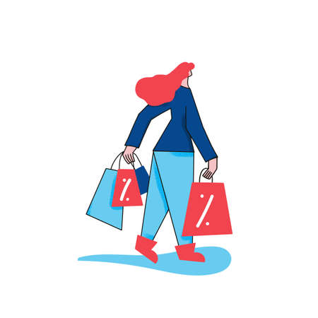 Retail concept. Female character with shopping bags going to home after shopping. Young woman dressed in casual trendy clothes. Sale. Vector illustration.