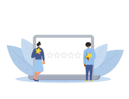 Feedback concept. Client review. Two persons holding stars in their hands with laptop screen. Service rating. Satisfaction level. Consumer product review Vector flat illustration.