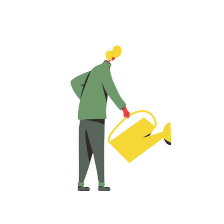 Man with watering can in his hand. Young man watering something isolated on white background. Vector flat illustration.