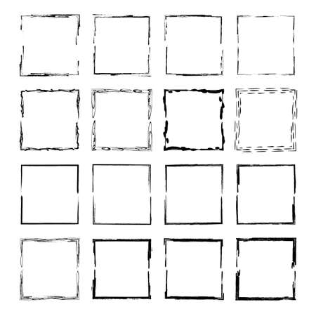 Set of black square grunge frames. Geometric empty borders collection. Vector illustration. Çizim