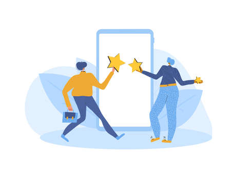 App feedback concept. Client giving a good grade. Two characters standing near huge phone and holding stars in hands. Service rating. Satisfaction level. Consumer product review Vector illustration.