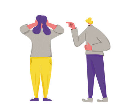 Conflict. Bad relationship between friend or family members. Scared person putting his hands over his ears and other character yelling and pointing finger. Vector flat color illustration. Çizim