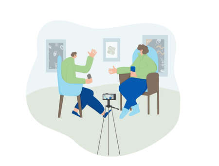 Influencers lifestyle concept. Two bloggers recording a content at a home studio. Adult persons having a conversation on camera. Host asking a questions and his famous guest answering. Çizim