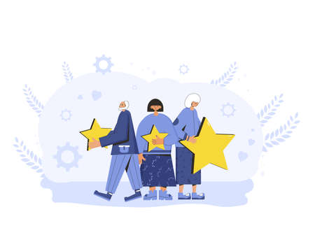Feedback concept. Client review. People in casual clothes holding gold stars in their hands. Service rating. Satisfaction level. Consumer product ranking. Vector flat illustration.