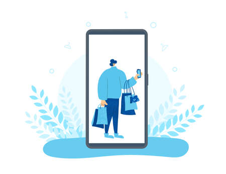 Male character with shopping bags on huge phone screen. Sale concept. Man dressed in casual clothes standing and using his phone fo find a good deals and buying a gifts. Vector illustration.