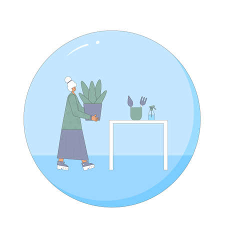 Indoor plants lover. Mature female person wearing in casual clothes holding in hands potted flowers. Senior woman with houseplants. Vector color flat illustration.