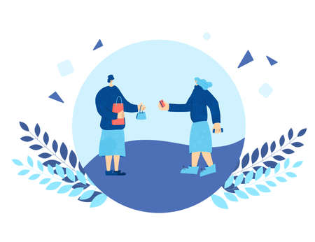 Buy local concept. Young woman taking a handmade thing and want to pay by credit card. Saleswoman and her client made a deal. Round composition. Vector flat illustration. Çizim