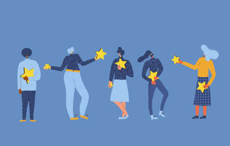 Feedback concept. Five characters holding stars in their hands. Service rating. Satisfaction level. Consumer product review Vector flat illustration. Çizim