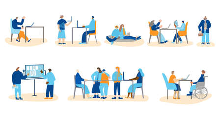 Teamwork set. Office life scenes collection. Different coworkers make business projects together in the company. Brainstorming, presentation, conference, mentoring, meeting. Vector flat illustration.