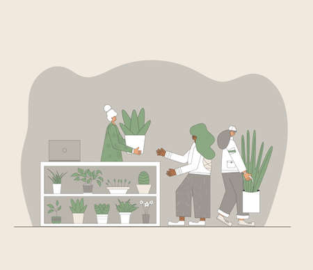Indoor plants shop. Sale of potted house plants. Seller houseflowers with his clients. Small business concept. Owner of flowers store giving a pot to a customer. Vector flat illustration.