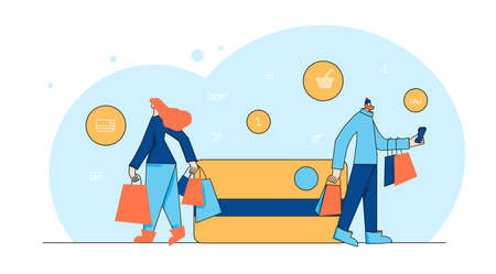 Woman and man going shopping. Two tiny characters with huge credit card. Payment concept. Young consumers. Vector illustration. Çizim