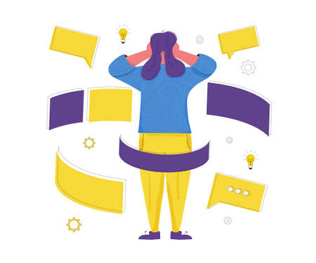 Burnout. Character get too much information. Concussed female person surrounded symbols of overload. Scared woman putting her hands over her ears. Vector flat color illustration.